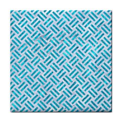 Woven2 White Marble & Turquoise Marble (r) Face Towel by trendistuff