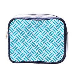 Woven2 White Marble & Turquoise Marble (r) Mini Toiletries Bags by trendistuff