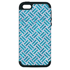 Woven2 White Marble & Turquoise Marble (r) Apple Iphone 5 Hardshell Case (pc+silicone) by trendistuff