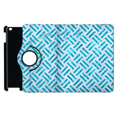 Woven2 White Marble & Turquoise Marble (r) Apple Ipad 3/4 Flip 360 Case