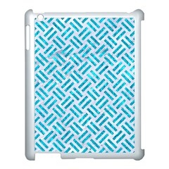 Woven2 White Marble & Turquoise Marble (r) Apple Ipad 3/4 Case (white) by trendistuff