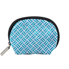 Woven2 White Marble & Turquoise Marble (r) Accessory Pouches (small)  by trendistuff