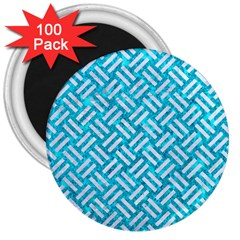 Woven2 White Marble & Turquoise Marble 3  Magnets (100 Pack) by trendistuff