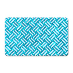 Woven2 White Marble & Turquoise Marble Magnet (rectangular) by trendistuff