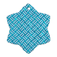 Woven2 White Marble & Turquoise Marble Ornament (snowflake)