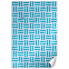 Woven1 White Marble & Turquoise Marble (r) Canvas 12  X 18   by trendistuff