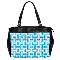 Woven1 White Marble & Turquoise Marble (r) Office Handbags (2 Sides)  by trendistuff