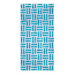 Woven1 White Marble & Turquoise Marble (r) Shower Curtain 36  X 72  (stall)  by trendistuff