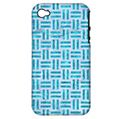 Woven1 White Marble & Turquoise Marble (r) Apple Iphone 4/4s Hardshell Case (pc+silicone) by trendistuff
