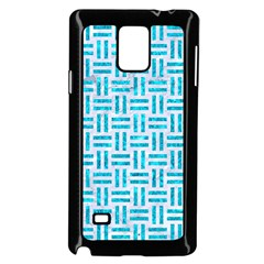 Woven1 White Marble & Turquoise Marble (r) Samsung Galaxy Note 4 Case (black) by trendistuff