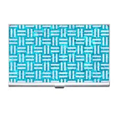 Woven1 White Marble & Turquoise Marble Business Card Holders by trendistuff