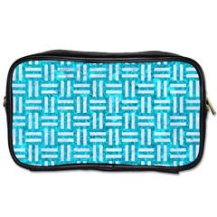 Woven1 White Marble & Turquoise Marble Toiletries Bags by trendistuff
