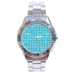 Woven1 White Marble & Turquoise Marble Stainless Steel Analogue Watch by trendistuff