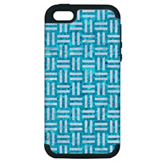 Woven1 White Marble & Turquoise Marble Apple Iphone 5 Hardshell Case (pc+silicone) by trendistuff