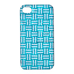 Woven1 White Marble & Turquoise Marble Apple Iphone 4/4s Hardshell Case With Stand by trendistuff