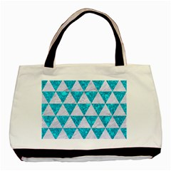 Triangle3 White Marble & Turquoise Marble Basic Tote Bag (two Sides) by trendistuff