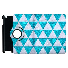 Triangle3 White Marble & Turquoise Marble Apple Ipad 3/4 Flip 360 Case