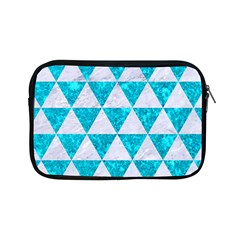 Triangle3 White Marble & Turquoise Marble Apple Ipad Mini Zipper Cases by trendistuff