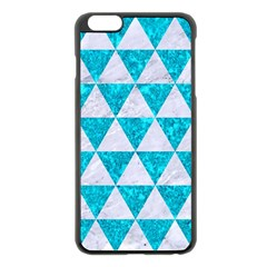 Triangle3 White Marble & Turquoise Marble Apple Iphone 6 Plus/6s Plus Black Enamel Case by trendistuff
