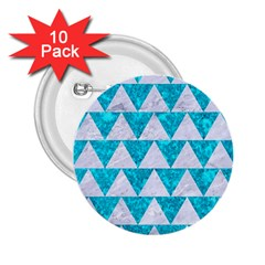 Triangle2 White Marble & Turquoise Marble 2 25  Buttons (10 Pack)  by trendistuff