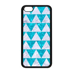 Triangle2 White Marble & Turquoise Marble Apple Iphone 5c Seamless Case (black) by trendistuff