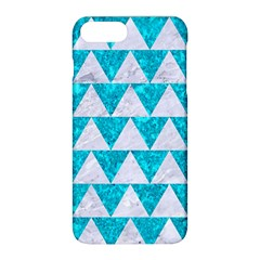 Triangle2 White Marble & Turquoise Marble Apple Iphone 8 Plus Hardshell Case by trendistuff