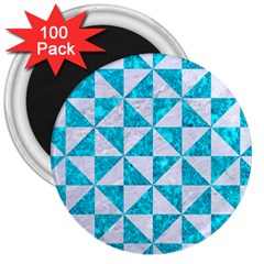 Triangle1 White Marble & Turquoise Marble 3  Magnets (100 Pack) by trendistuff