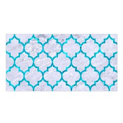 Tile1 White Marble & Turquoise Marble (r) Satin Shawl by trendistuff