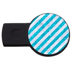 Stripes3 White Marble & Turquoise Marble (r) Usb Flash Drive Round (2 Gb) by trendistuff