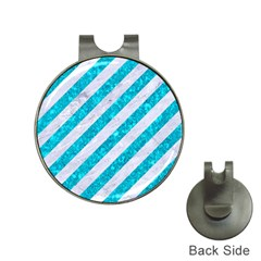 Stripes3 White Marble & Turquoise Marble (r) Hat Clips With Golf Markers by trendistuff