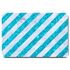 Stripes3 White Marble & Turquoise Marble (r) Large Doormat  by trendistuff