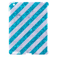 Stripes3 White Marble & Turquoise Marble (r) Apple Ipad 3/4 Hardshell Case (compatible With Smart Cover) by trendistuff