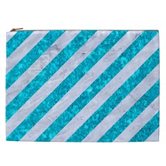 Stripes3 White Marble & Turquoise Marble (r) Cosmetic Bag (xxl)  by trendistuff