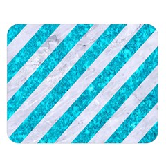 Stripes3 White Marble & Turquoise Marble (r) Double Sided Flano Blanket (large)  by trendistuff