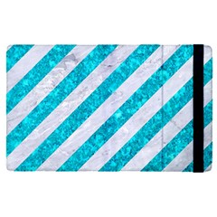 Stripes3 White Marble & Turquoise Marble (r) Apple Ipad Pro 9 7   Flip Case by trendistuff