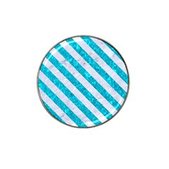 Stripes3 White Marble & Turquoise Marble Hat Clip Ball Marker by trendistuff