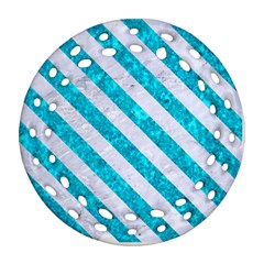 Stripes3 White Marble & Turquoise Marble Ornament (round Filigree) by trendistuff