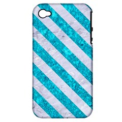 Stripes3 White Marble & Turquoise Marble Apple Iphone 4/4s Hardshell Case (pc+silicone) by trendistuff