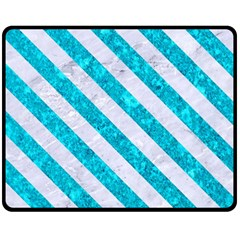 Stripes3 White Marble & Turquoise Marble Double Sided Fleece Blanket (medium)  by trendistuff
