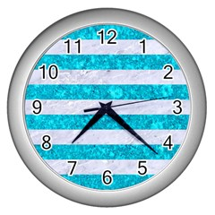 Stripes2white Marble & Turquoise Marble Wall Clocks (silver)  by trendistuff