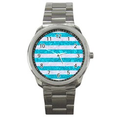Stripes2white Marble & Turquoise Marble Sport Metal Watch by trendistuff