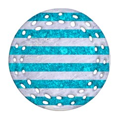 Stripes2white Marble & Turquoise Marble Ornament (round Filigree) by trendistuff