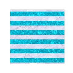 Stripes2white Marble & Turquoise Marble Small Satin Scarf (square) by trendistuff