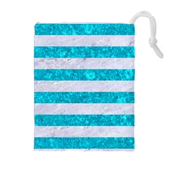 Stripes2white Marble & Turquoise Marble Drawstring Pouches (extra Large) by trendistuff