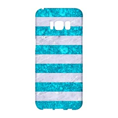 Stripes2white Marble & Turquoise Marble Samsung Galaxy S8 Hardshell Case  by trendistuff