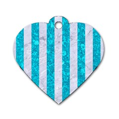 Stripes1 White Marble & Turquoise Marble Dog Tag Heart (one Side) by trendistuff