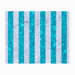 Stripes1 White Marble & Turquoise Marble Small Glasses Cloth (2 Side) by trendistuff