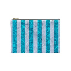 Stripes1 White Marble & Turquoise Marble Cosmetic Bag (medium)  by trendistuff