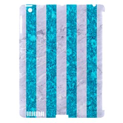 Stripes1 White Marble & Turquoise Marble Apple Ipad 3/4 Hardshell Case (compatible With Smart Cover) by trendistuff