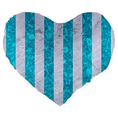 Stripes1 White Marble & Turquoise Marble Large 19  Premium Heart Shape Cushions by trendistuff